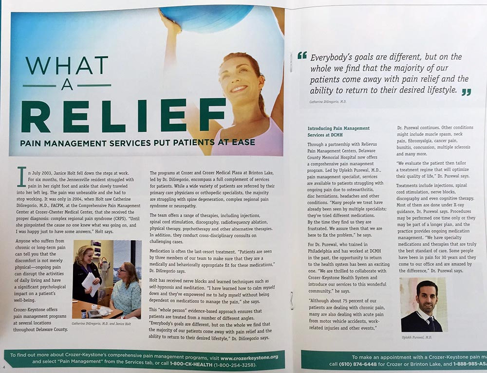 Pain Manegement Services article from magazine Crozer Keystone