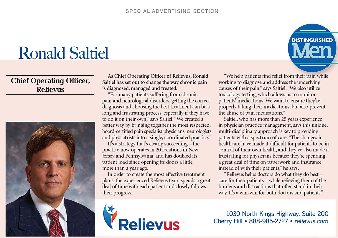 Chief Operating Officer of Relievus Ronald Saltiel Distinguished Men